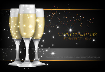 Merry Christmas with champagne glasses poster design. Inscription with champagne glasses with sparkles on black background. Can be used for posters, banners, greetings