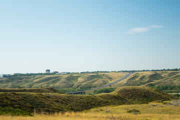 Highway in Lethbridge, Alberta through the middle of town