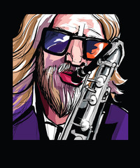 Poster Art Studio saxophone player