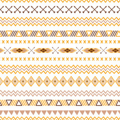 Seamless tribal ethnic pattern Aztec abstract background Mexican ornamental texture in yellow coffee brown colors vector