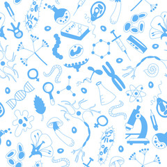 Seamless background with hand drawn icons on the theme of biology,blue silhouettes icons on a white  background