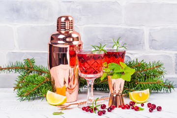 Cranberry coctail with rosemary