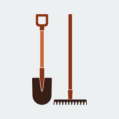 Shovel and Rake Icon.Flat Design.Vector design