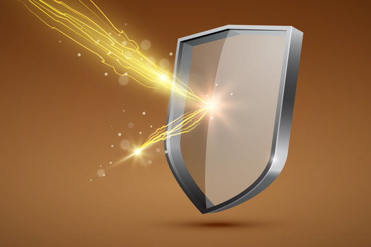 Glass shield and yellow lightning, firewall concept, vector illustration