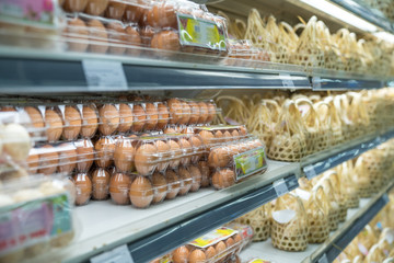 Packaging of chicken eggs on supermarket shelves. Asian food