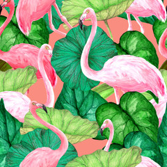 Watercolor seamless pattern with flamingos