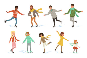 Ice skating people set, winter activities vector Illustrations on a white background