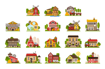 Farm houses and buildings set, agriculture industry and countryside constructions vector Illustrations on a white background