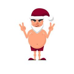 Vector illustration of a fat man in Santa`s hat