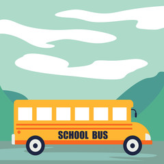 Back to school at school bus concept background. Cartoon illustration of back to school at school bus vector concept background for web design