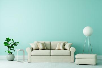 Sofa in Altbau Wohnzimmer mit freier grüner Wand