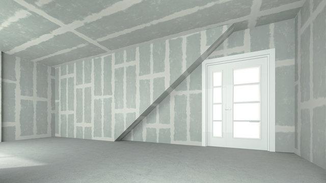 Verspachtelter Trockenbau in großem Zimmer