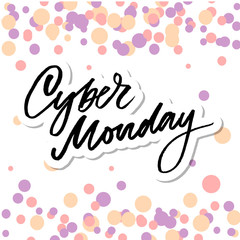 Cyber Monday Handwritten Calligraphy. Vector Illustration of Ink Brush Lettering Isolated over White Background.