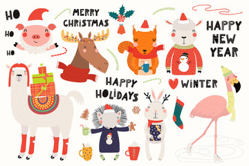 Wall Murals Illustrations Big set with cute animals doing winter, Christmas activities, typography. Isolated objects on white background. Hand drawn vector illustration. Scandinavian style flat design. Concept for kids print.