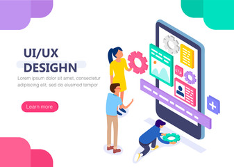 UX / UI design concept with character. Concept for infographics, web banner. Flat isometric vector illustration.