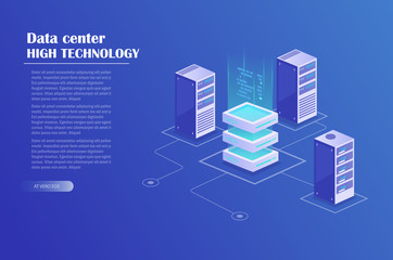 Data processing isometric concept