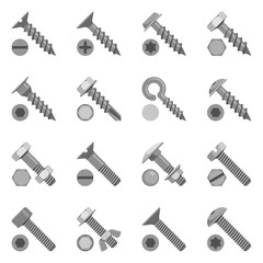 Different types of screws and bolts