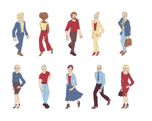 Group of people standing on white background vector. Business men and women cartoon style characters.