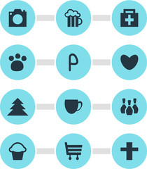 Vector illustration of 12 check-in icons. Editable set of parking sign, cafe, love and other icon elements.