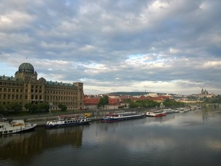 Panorama view of  river part of Prague