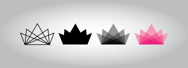 Linear Crown abstract Logo design vector template. Creative Business Logotype concept icon. Fashion logo
