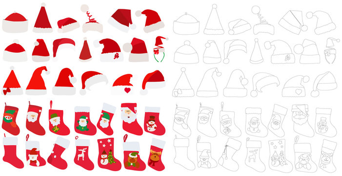 vector, isolated, set of red socks for gifts and Santa Claus hats