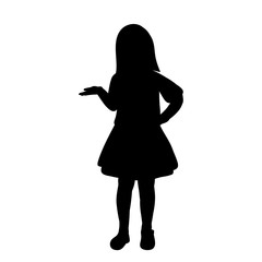 silhouette little girl in a dress