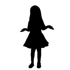 isolated, silhouette little girl in a dress