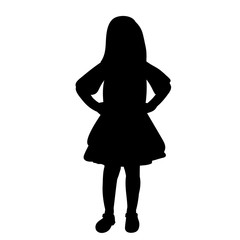 vector, isolated, silhouette little girl in a dress