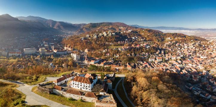 Panoramic view from the air of Brasov cityscape, Transylvania Romania