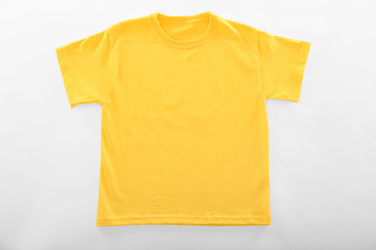 Blank yellow t-shirt on white background
