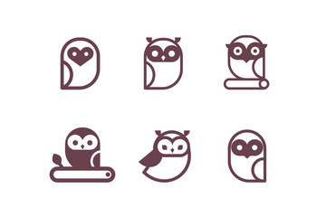 Owl icon collection. Set of outline owls and emblems design elements for schools, educational signs.