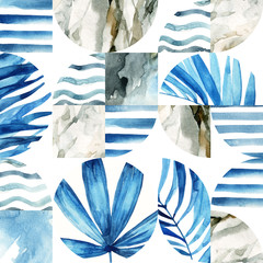 Foto op Aluminium Grafische Prints Abstract geometric seamless pattern: tropical leaves, waves, stripes, semicircles, circles, squares, grunge, grained, paper, marble, watercolor textures, doodles.