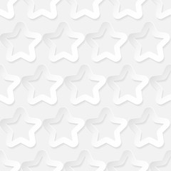 Stars. Seamless pattern. White geometric 3D shapes on white background. Can be used for wallpaper, textile, invitation card, wrapping, web page background.