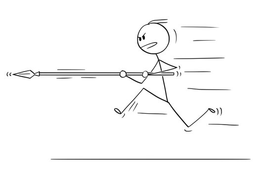Cartoon stick drawing conceptual illustration of man or businessman running,charging or attacking with spear.