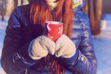 cup Christmas winter girl