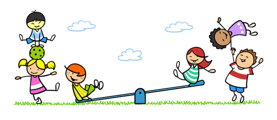 Gruppe Kinder beim Spielen auf Spielplatz mit Wippe