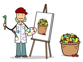 Künstlerin malt Obst als Stillleben