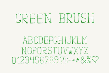 Alphabet brush design, green color. Letters, numbers and punctuation marks. EPS 10