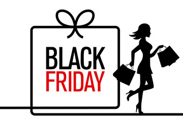 Black Friday. woman silhouette shopping with black friday poster