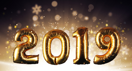 Happy New Year concept with golden numbers.