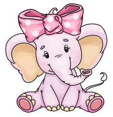 Vector cute baby elephant.