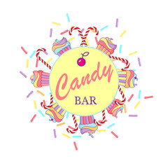 Vector hand draw illustration Candy bar lettering with cupcakes, lollipops and confetti for logo, infographics, postcards, T-shirt printing, banner, poster, promotion, advertising sign