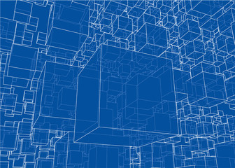 Vector abstract boxes background