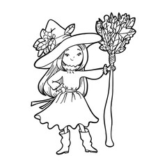 Cute little witch with a broom. Vector illustration.