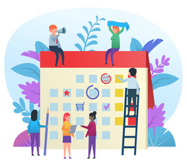 Small cute people working and showing various actions near big calendar. Time management concept. Flat design vector illustration