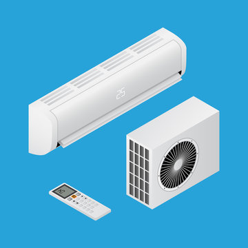 Realistic detailed isometric 3d air conditioning for home with remote controller, household equipmen for cooling air, vector illustration