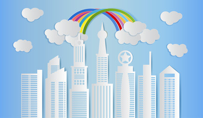Skyscraper with clouds and rainbow on blue sky, Modern city skyline building, Paper art style. Vector illustration