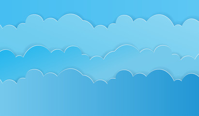 Paper art of sky and clouds background. Vector illustration