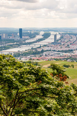 Vienna, Danube River Canals, Cityscape, Overcast Panorama